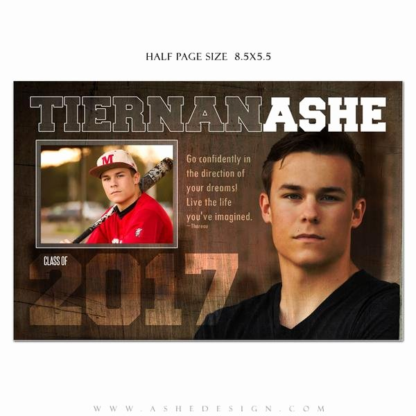 Half Page Advertisement Template Luxury ashe Design Senior Yearbook Ad