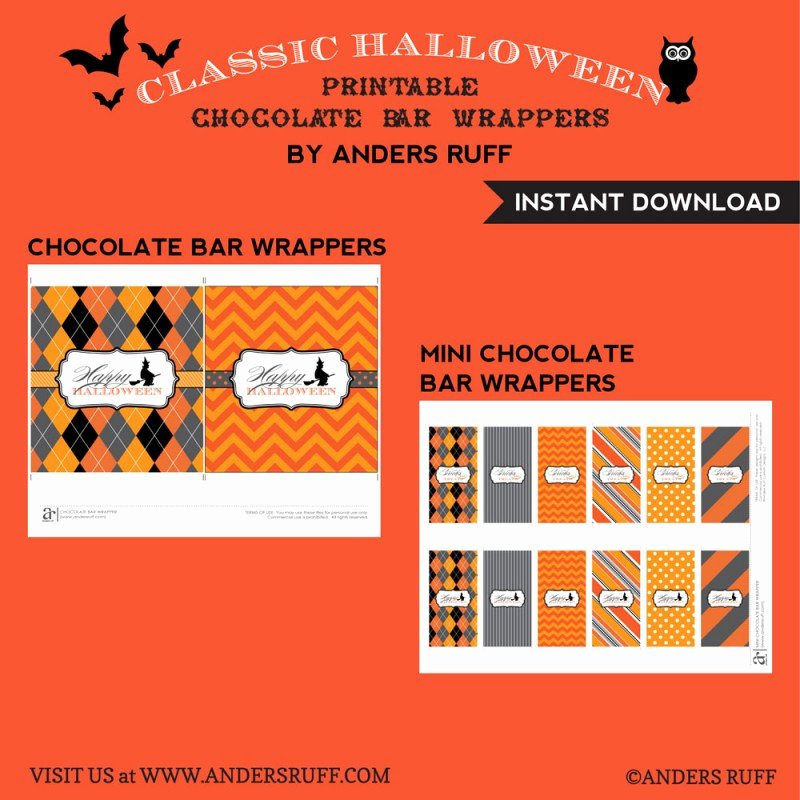 Halloween Candy Bar Wrappers Printables Inspirational Classic Halloween Design Kit Printable Chocolate Bar