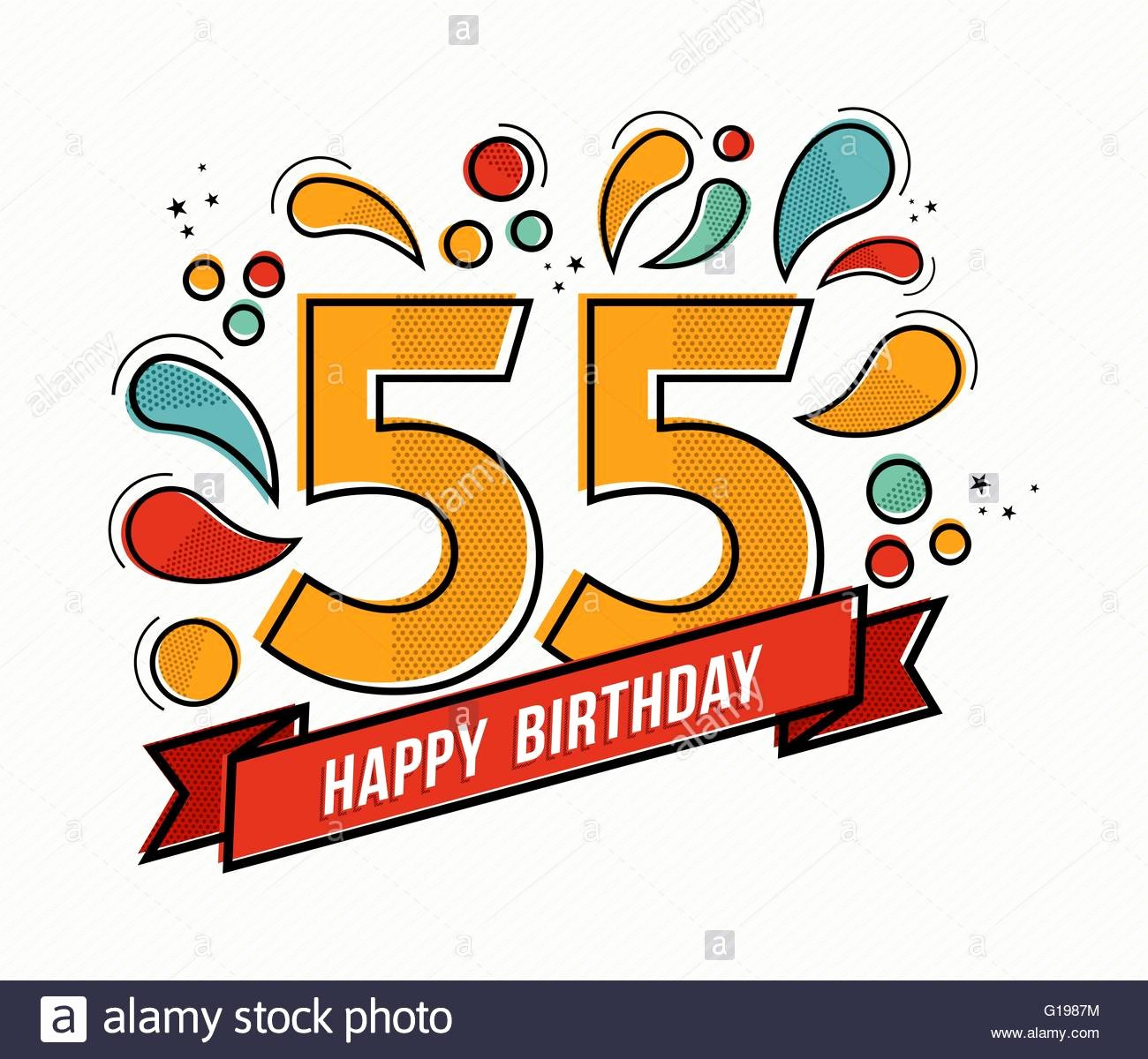 Happy 55th Birthday Images Elegant Happy Birthday Number 55 Greeting Card for Fifty Five