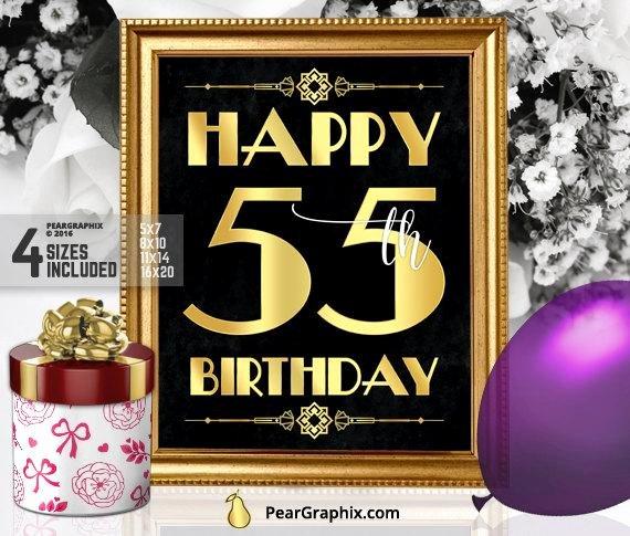 Happy 55th Birthday Images Fresh Happy 55th Birthday Sign Printable 55th Birthday Decor