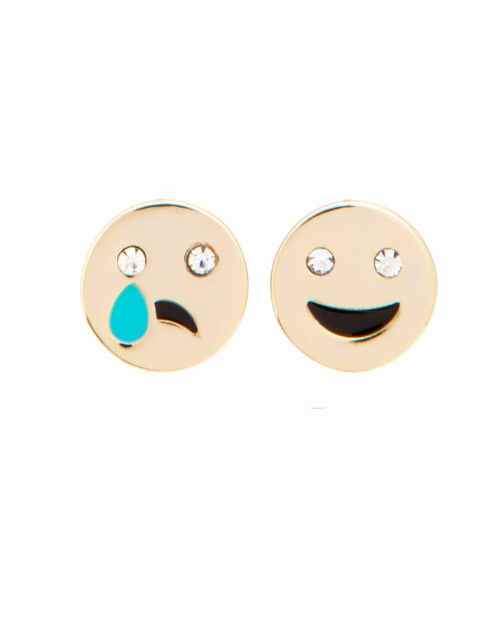 Happy and Sad Emoji Awesome Happy Sad Emoji Ear Studs by Me & Zena