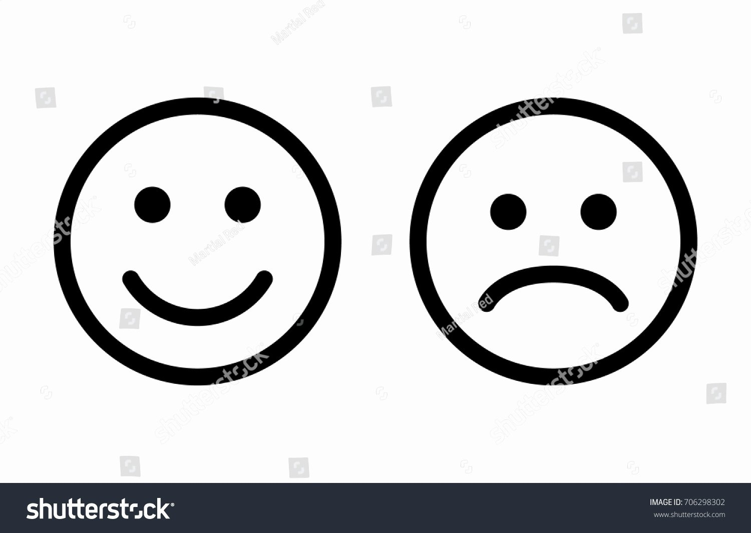 Happy and Sad Emoji Beautiful Happy Sad Emoji Faces Line Art Stock Vector