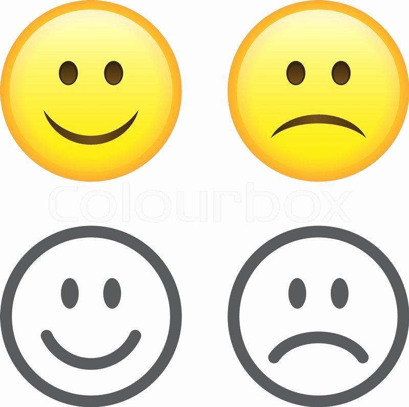 Happy and Sad Emoji Elegant Set Of Smile Emoticons isolated On White Background Happy