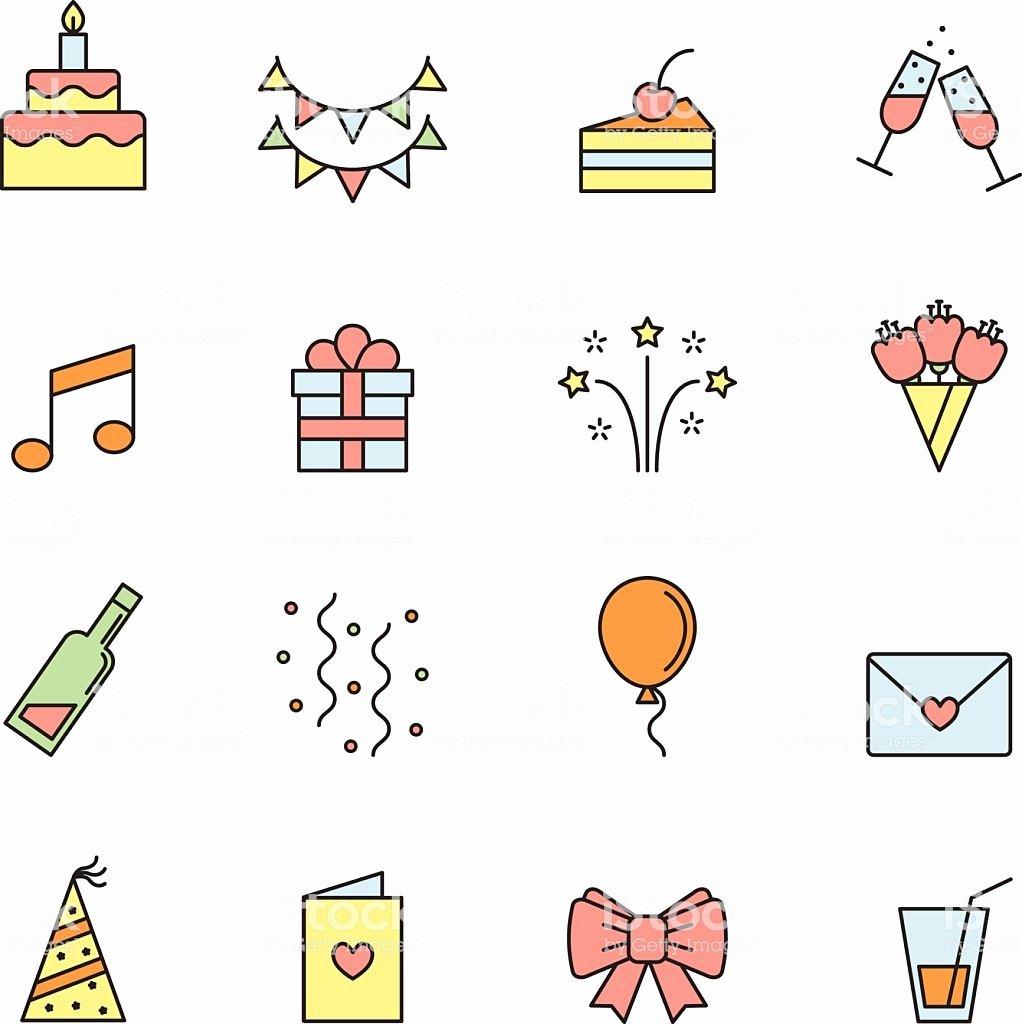 Happy Birthday Icons Free Beautiful Happy Birthday Party Vector Multicolored Icons Set Stock