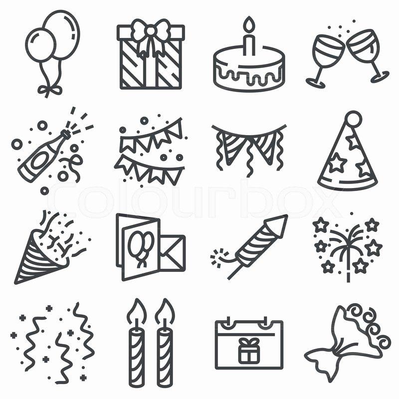 Happy Birthday Icons Free Best Of Happy Birthday Icons On White Background Vector