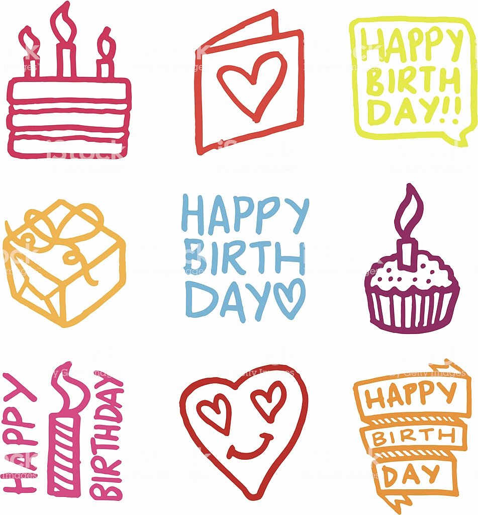 happy birthday icon set gm