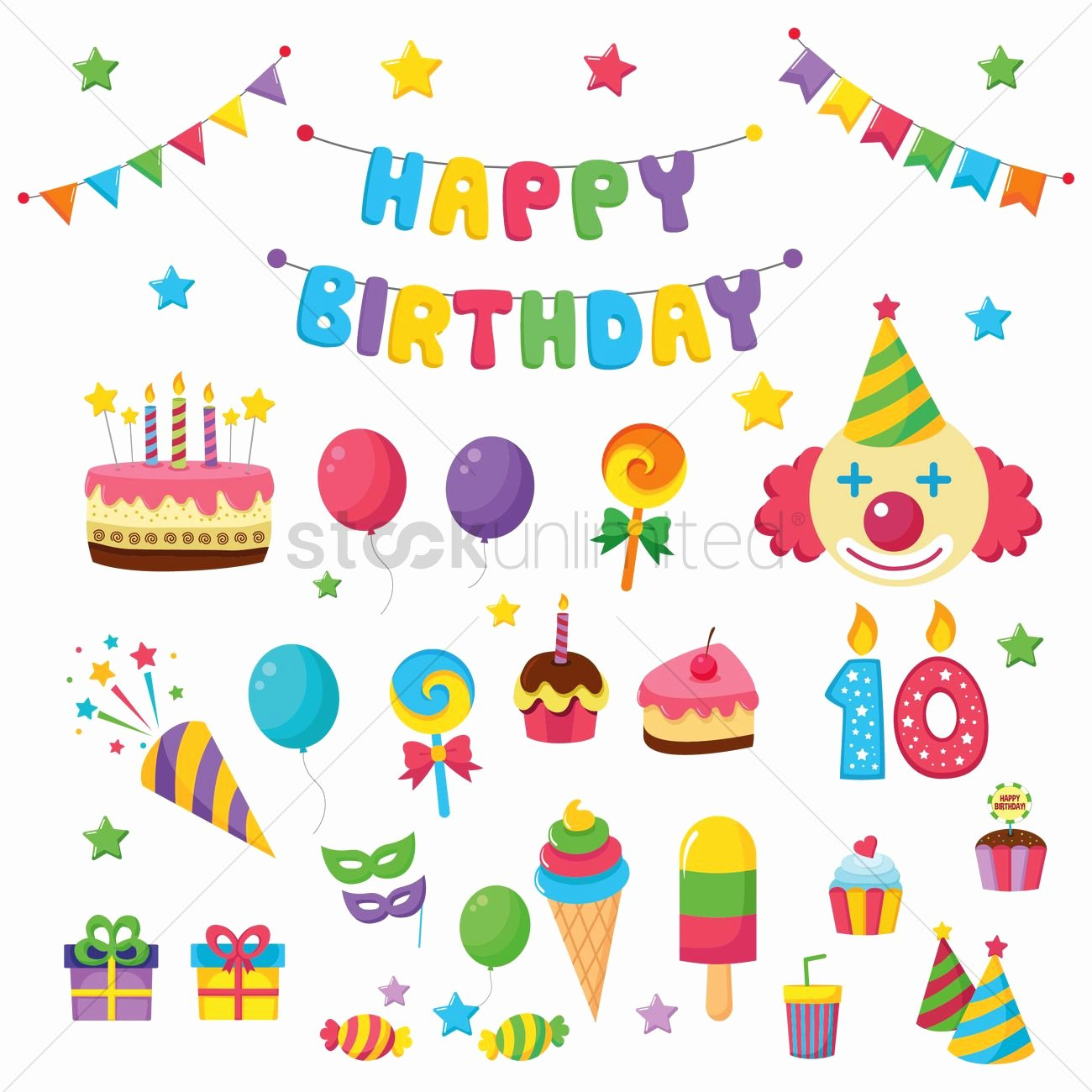 Happy Birthday Icons Free Lovely Happy Birthday Icons Vector Image