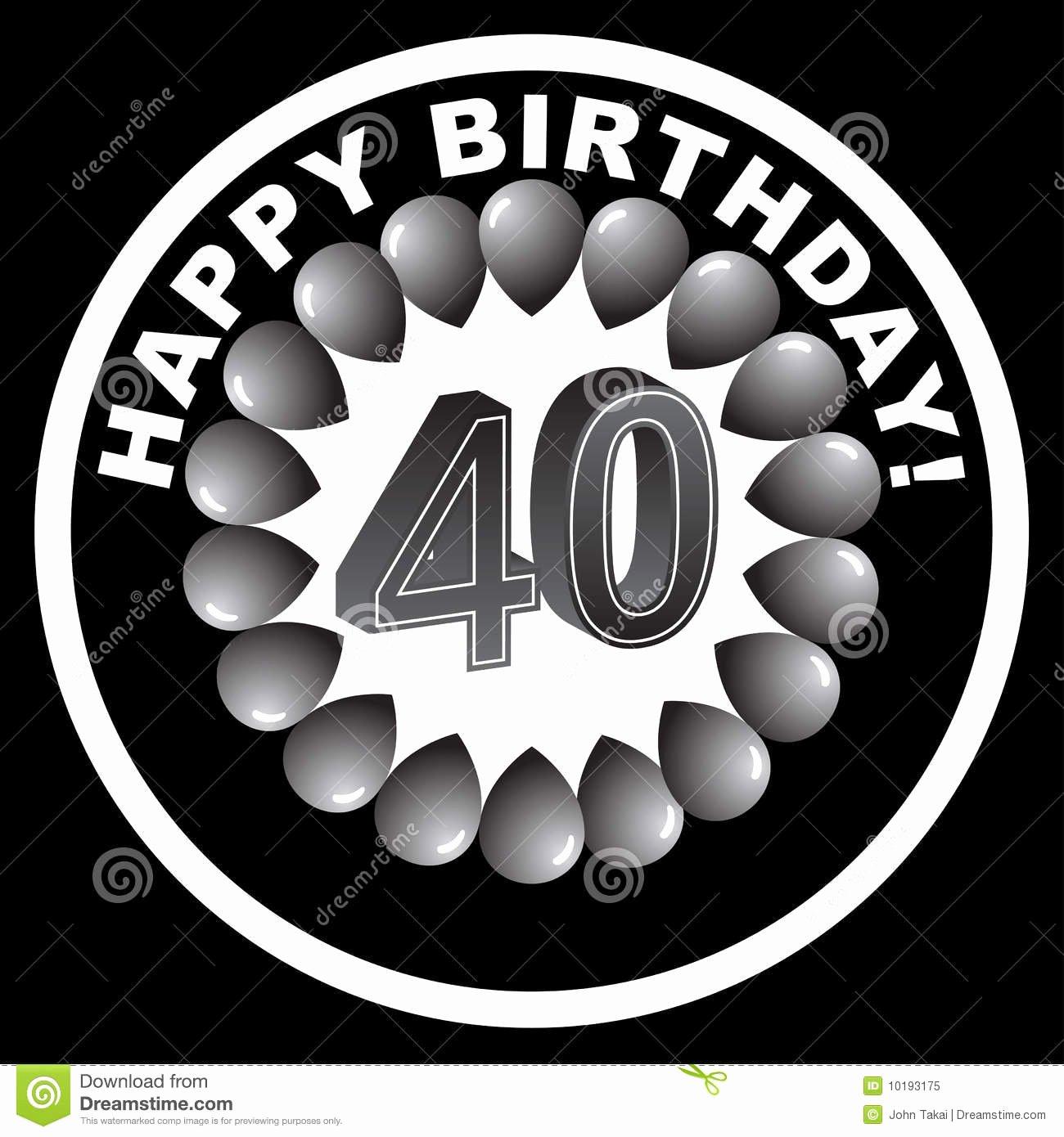 Happy Birthday Icons Free Unique Happy Birthday Icon Happy 40th Stock Vector Image