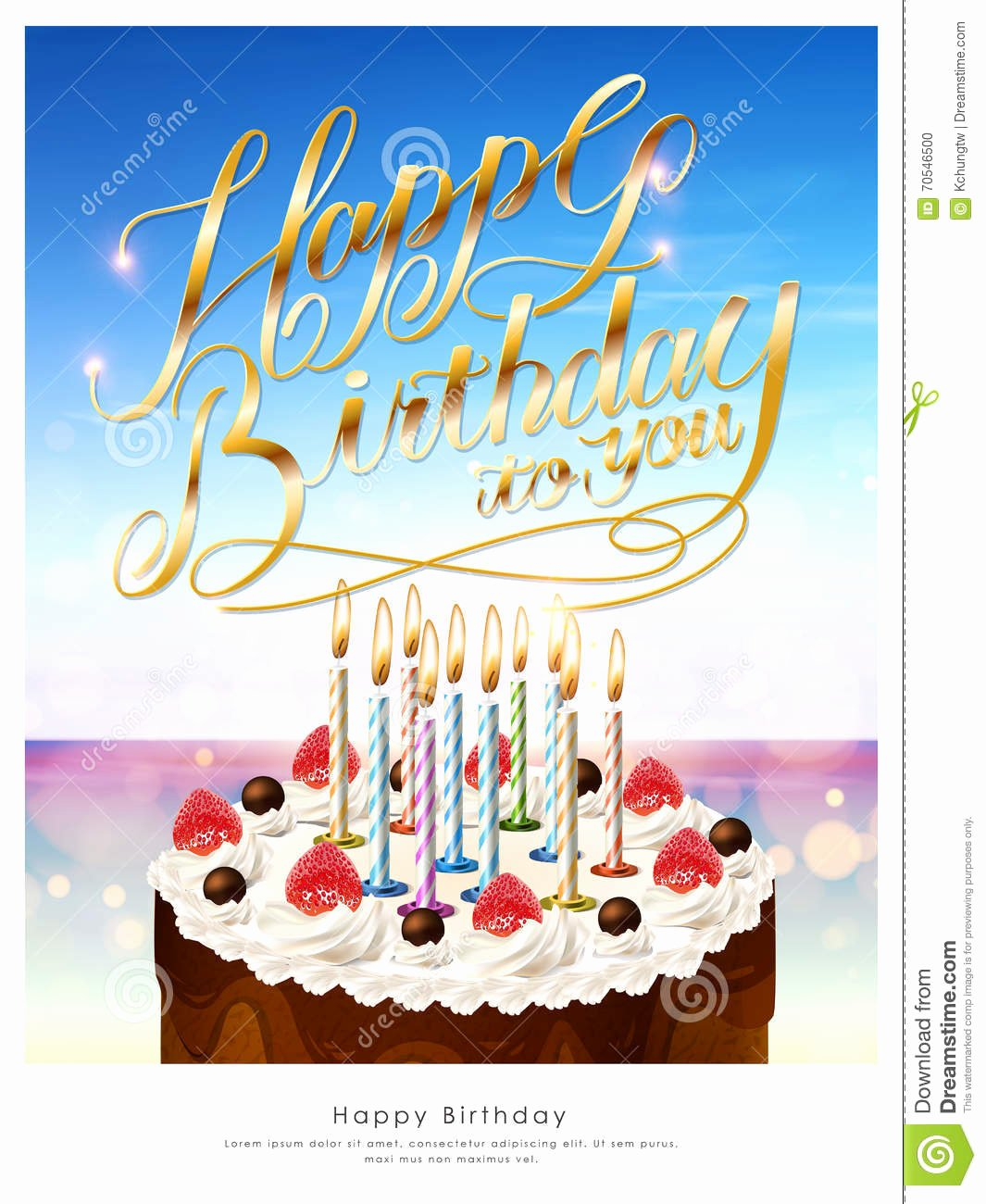 Happy Birthday Template for Cake Awesome Happy Birthday Poster Stock Illustration Illustration Of