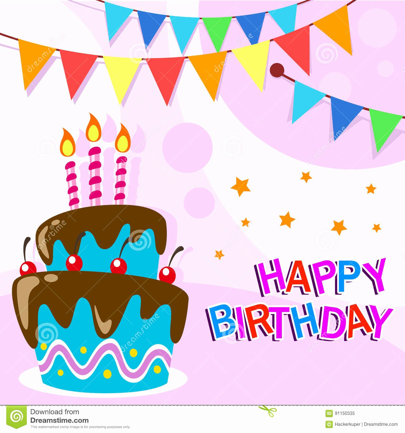 Happy Birthday Template for Cake Fresh Vector Happy Birthday Card Template with Fun Cartoon