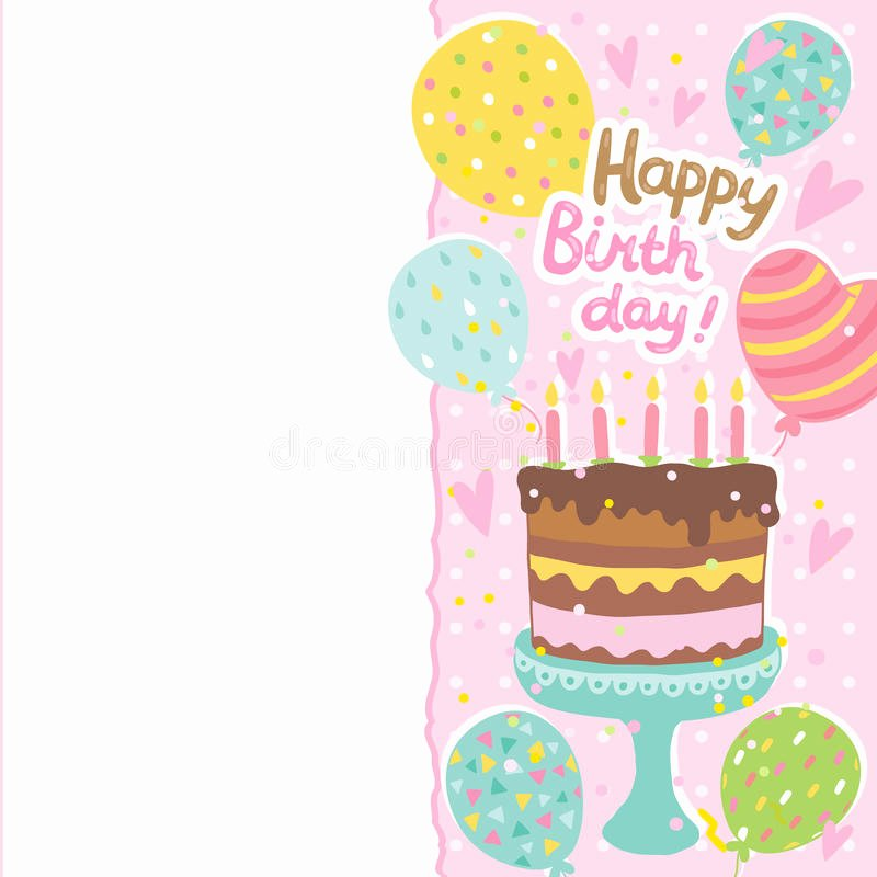 Happy Birthday Template for Cake Inspirational Happy Birthday Card Background with Cake Stock Vector