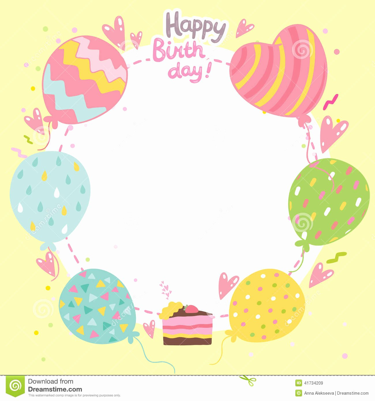 Happy Birthday Template for Cake Lovely Happy Birthday Card Background with Balloons Stock Vector