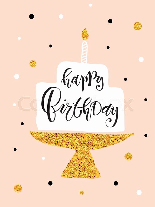 Happy Birthday Template for Cake New Hand Sketched Happy Birthday Text with Cake and Candle as