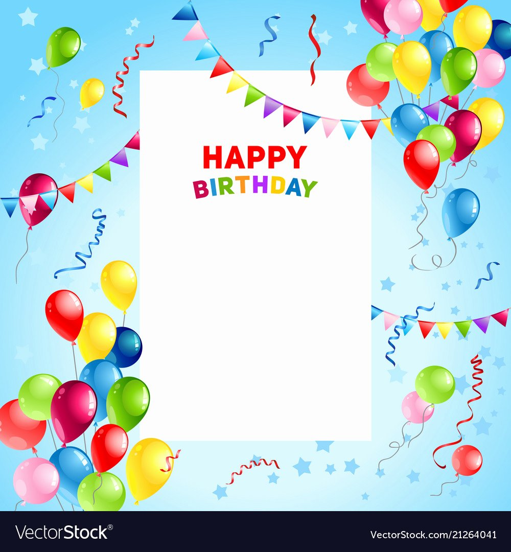 Happy Birthday Template Free Best Of Balloons Happy Birthday Card Template Royalty Free Vector