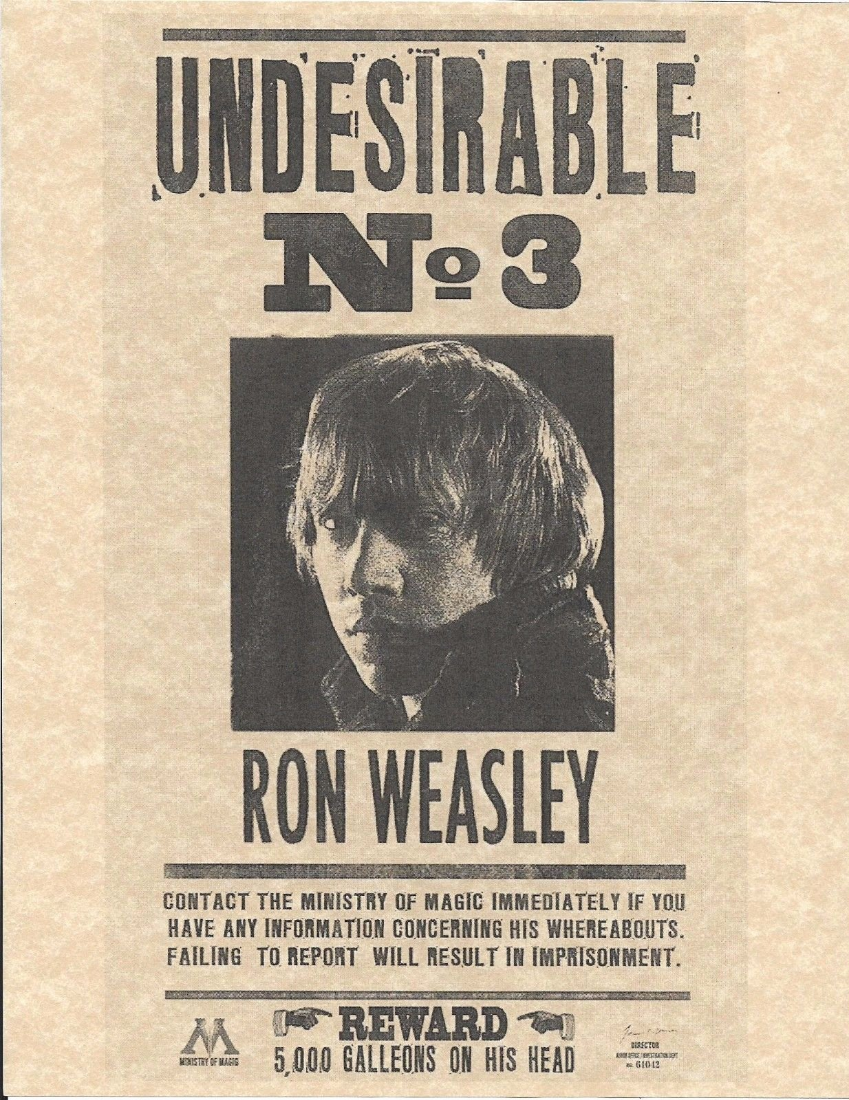 Harry Potter Wanted Poster Beautiful Harry Potter Undesirable Number 3 Ron Weasley Wanted Flyer