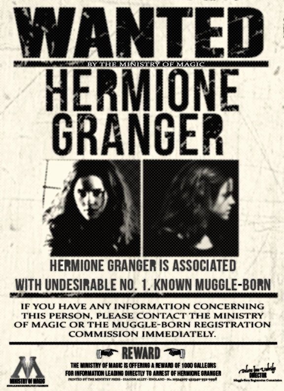 Harry Potter Wanted Poster Inspirational Wanted by the Ministry Hermione Granger by Xlovegoodx