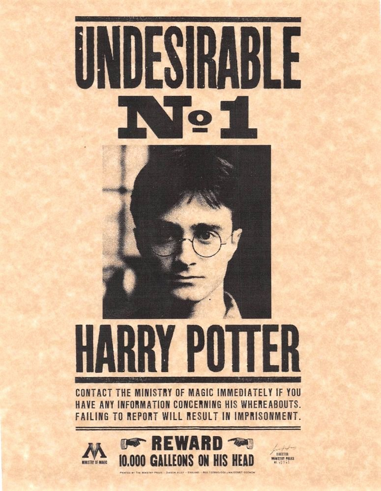 Harry Potter Wanted Poster Luxury Harry Potter Undesirable Number 1 Wanted Poster Daniel