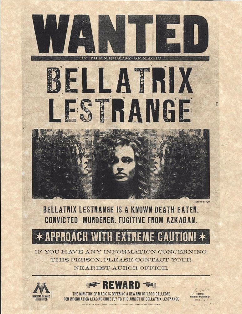 Harry Potter Wanted Poster New Harry Potter Ministry Magic Wanted Bellatrix lestrange