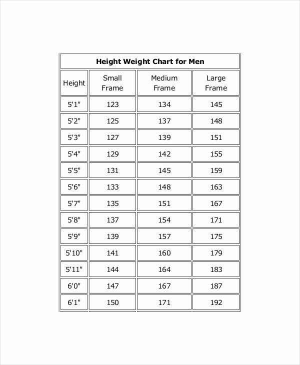 Height Chart In Inches Elegant Height and Weight Chart Templates for Men 7 Free Pdf