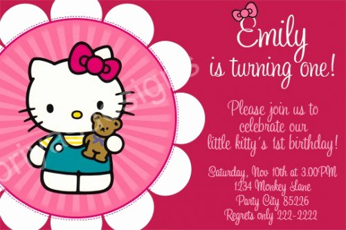 Hello Kitty 1st Birthday Invitations Awesome Hello Kitty Birthday Party Invitations Ideas – Bagvania