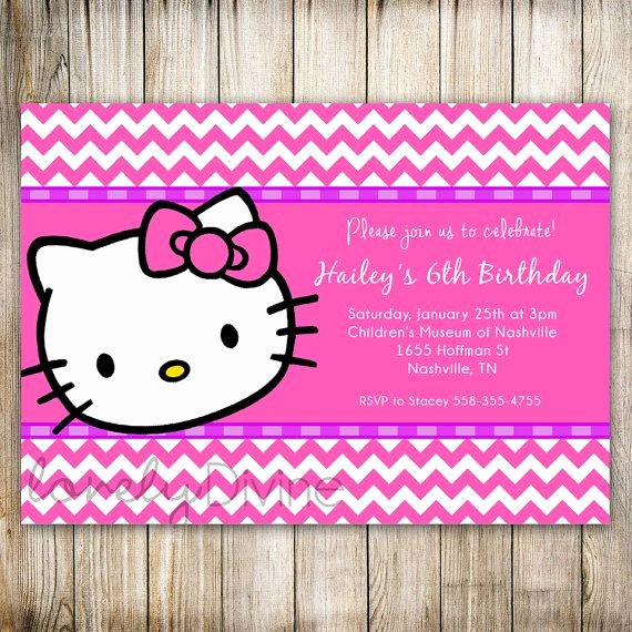 Hello Kitty 1st Birthday Invitations Awesome Hello Kitty Chevron Birthday 1st Birthday Invitation 2nd