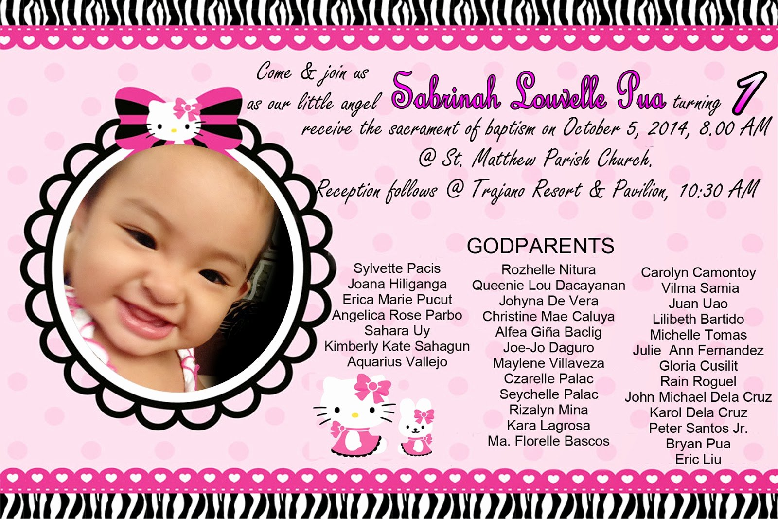 Hello Kitty 1st Birthday Invitations Awesome Hello Kitty Invitation for Christening and 1st Birthday