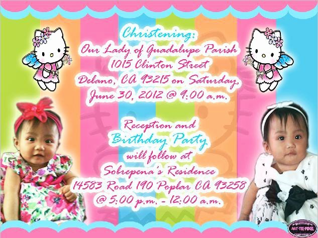 Hello Kitty 1st Birthday Invitations Beautiful Art Tee Pixel Lay Out Making and Video Editing 1st