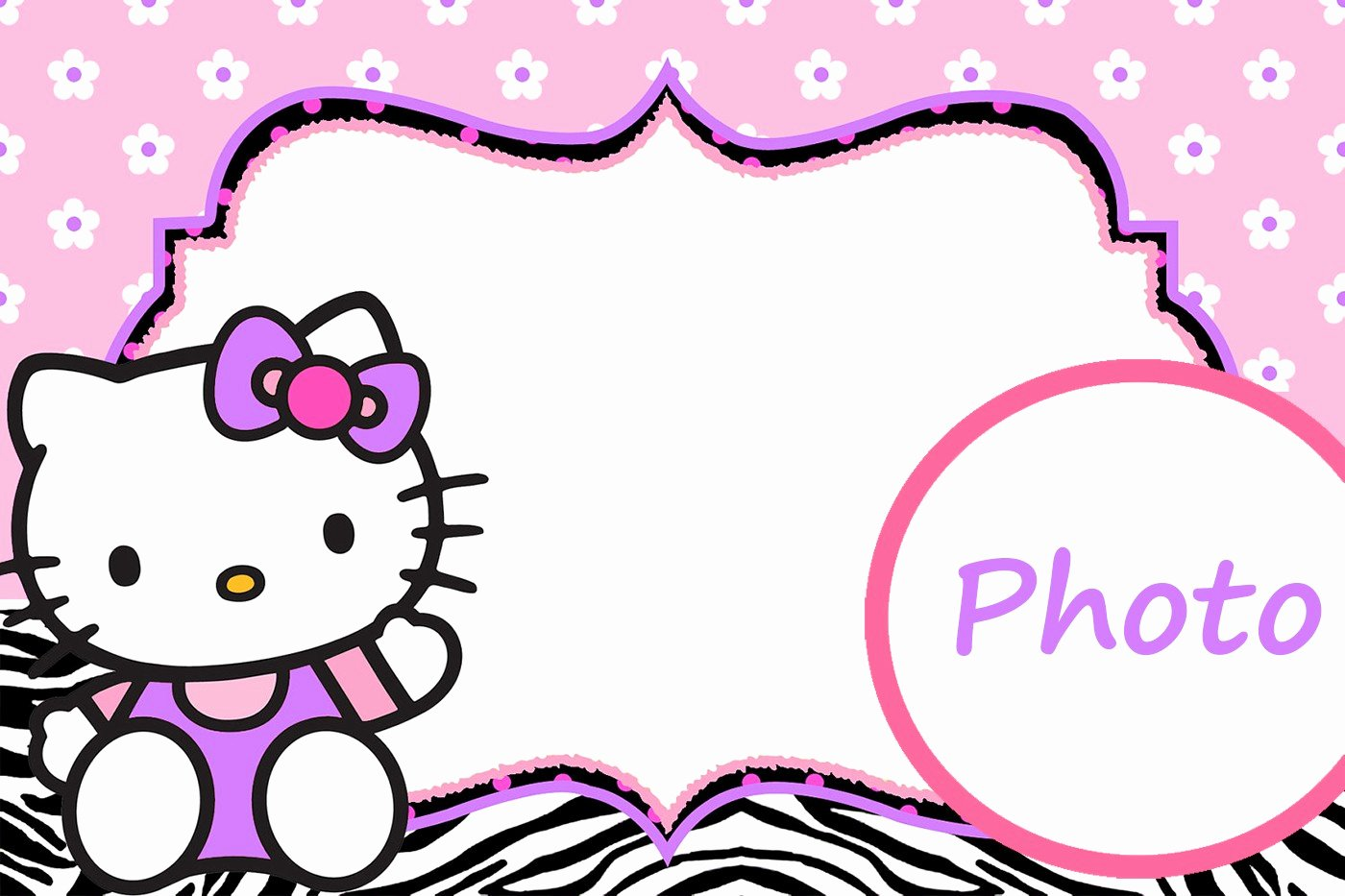 Hello Kitty 1st Birthday Invitations Beautiful Hello Kitty Free Printable Invitation Templates