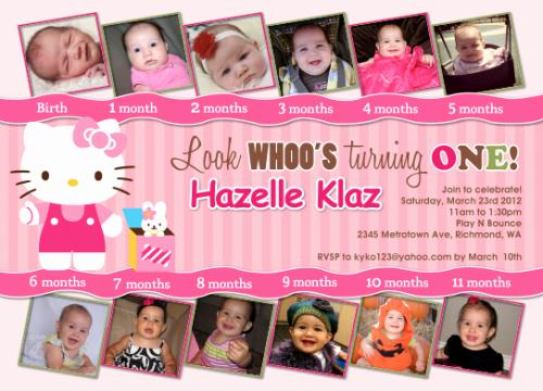 Hello Kitty 1st Birthday Invitations Best Of Custom Birthday Invitation Cards by Designdream