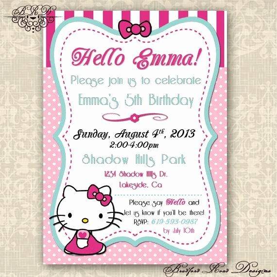 Hello Kitty 1st Birthday Invitations Fresh Hello Kitty Birthday Invitation by Bradfordroaddesigns On Etsy
