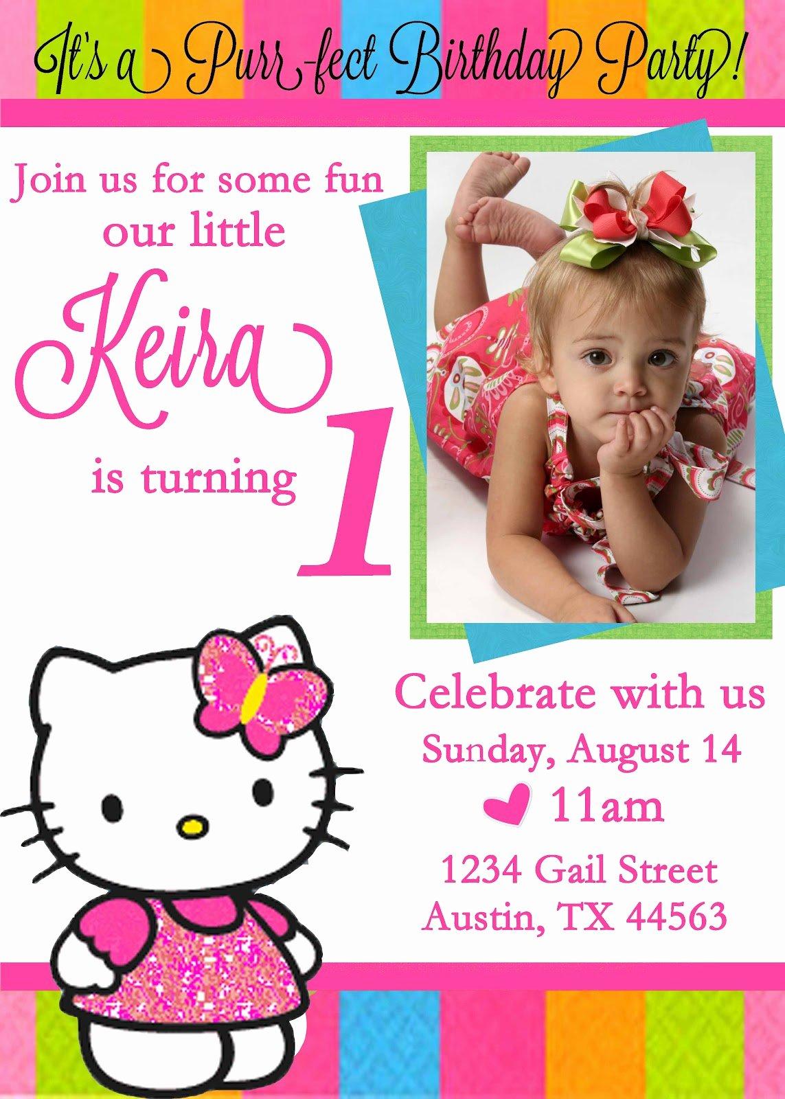 Hello Kitty 1st Birthday Invitations Inspirational Hello Kitty Birthday Invitations Ideas – Bagvania Free