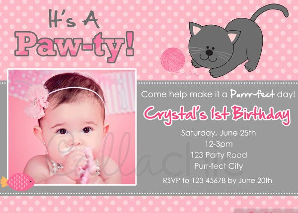 Hello Kitty 1st Birthday Invitations Luxury 52 Birthday Invitation Templates Psd Ai