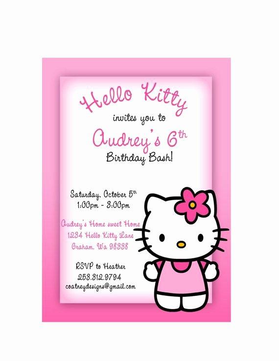 Hello Kitty 1st Birthday Invitations Luxury Hello Kitty Birthday Party Invitation