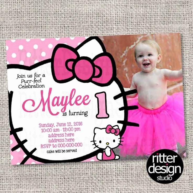 Hello Kitty 1st Birthday Invitations New Birthday Invitation Hello Kitty with Picture Printable
