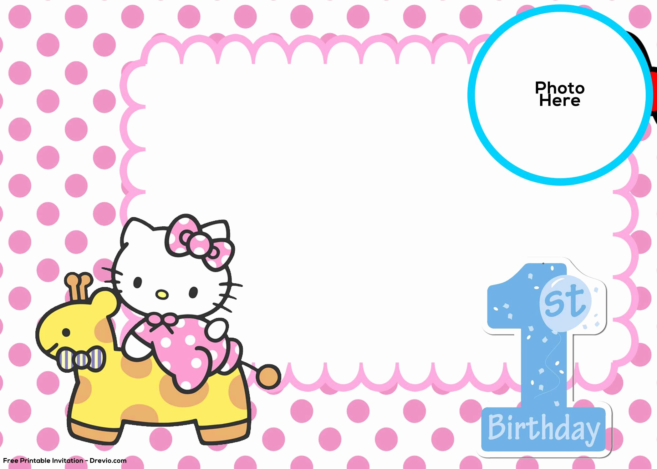 Hello Kitty 1st Birthday Invitations New Free Hello Kitty 1st Birthday Invitation Template