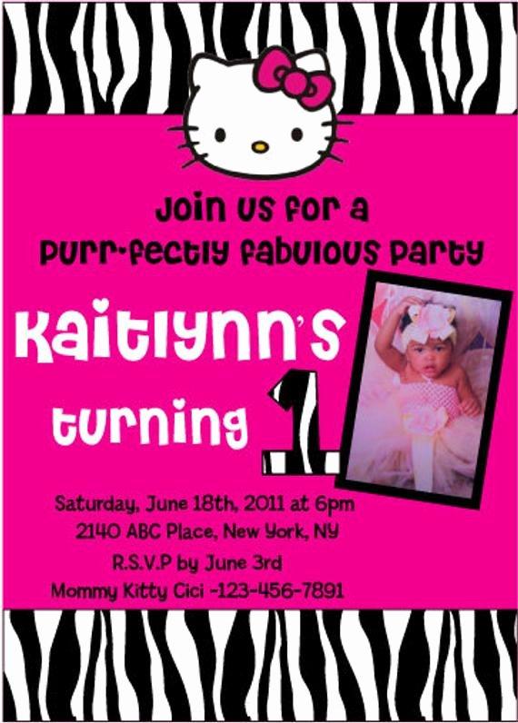 Hello Kitty 1st Birthday Invitations New Items Similar to Custom Zebra Hello Kitty 1st Birthday