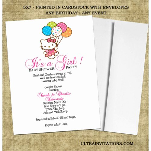 Hello Kitty Baby Shower Invites Awesome Hello Kitty Baby Shower Invitations Baby Girl Invites