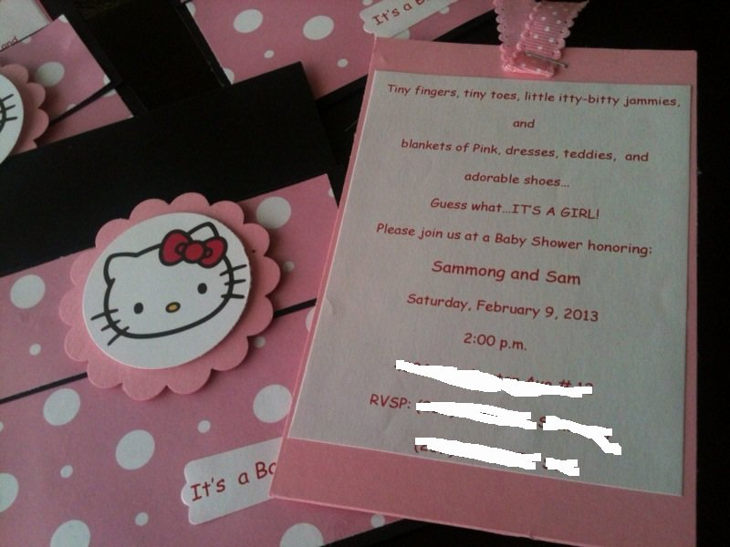 Hello Kitty Baby Shower Invites Awesome Two Rosie Cheeks Hello Kitty Baby Shower Invites – Party Xyz