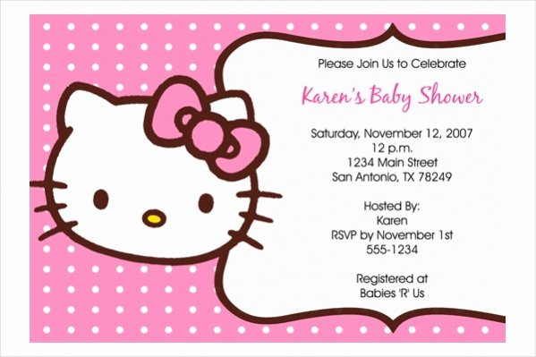 Hello Kitty Baby Shower Invites Beautiful 21 Free Baby Shower Invitations Jpg Psd Ai