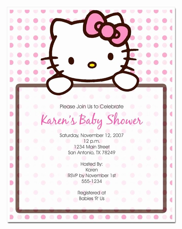 Hello Kitty Baby Shower Invites Best Of Hello Kitty Invitation