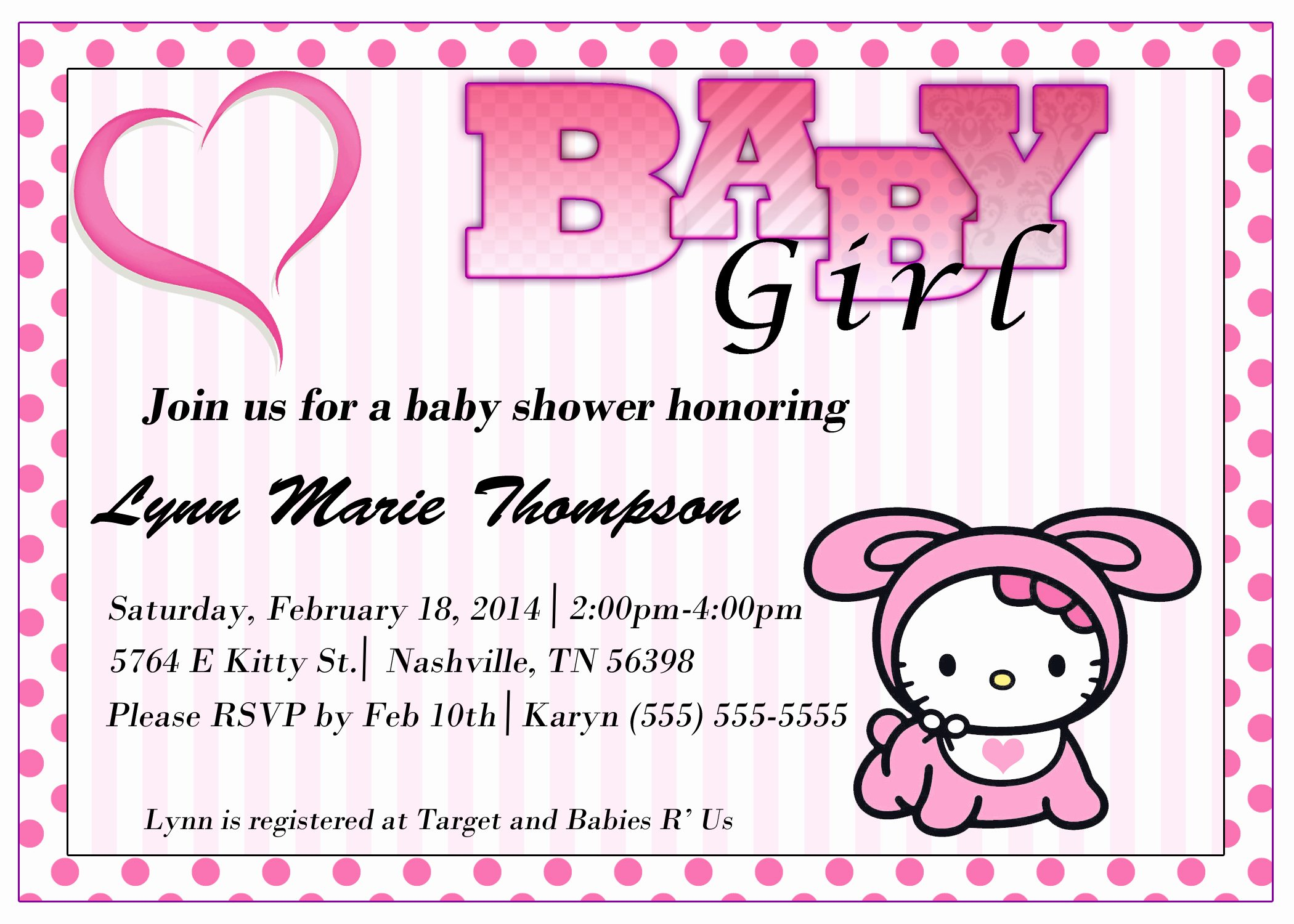 Hello Kitty Baby Shower Invites Elegant Hello Kitty Baby Shower Invitation