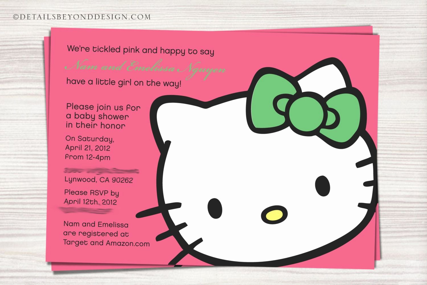 Hello Kitty Baby Shower Invites Fresh Hello Kitty Face Baby Shower Invitation