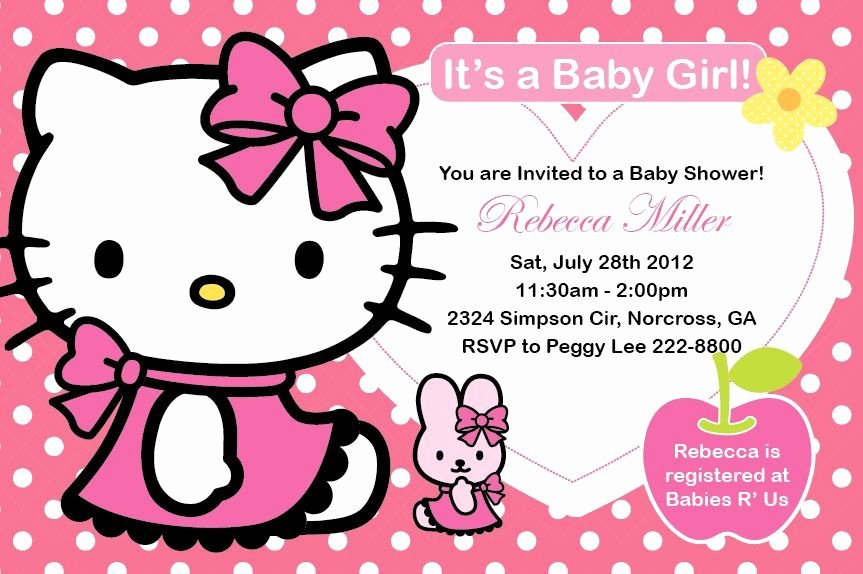 Hello Kitty Baby Shower Invites Fresh Hello Kitty Girl Birthday Party or Baby Shower Custom