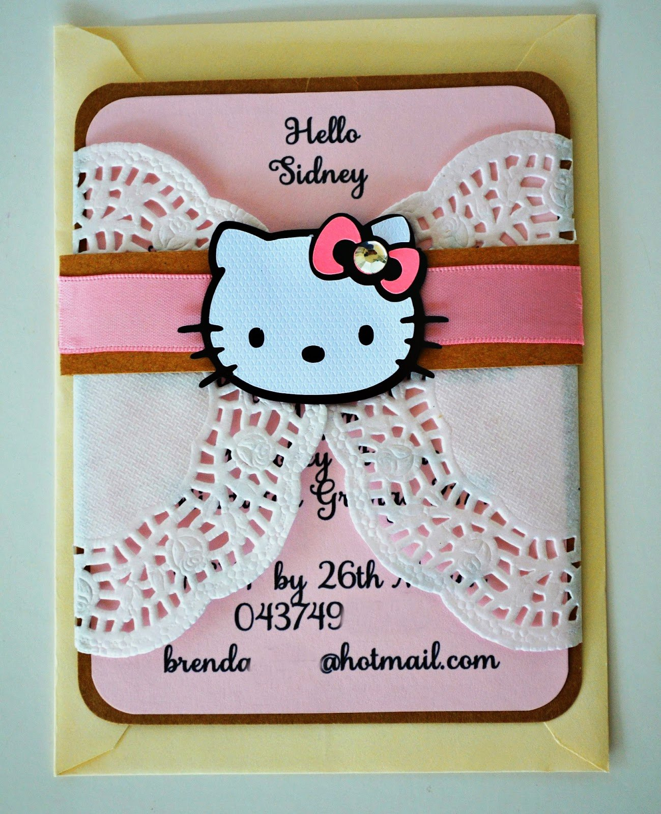 Hello Kitty Baby Shower Invites Lovely Birthday and Baby Shower Invitations Hello Kitty Doily