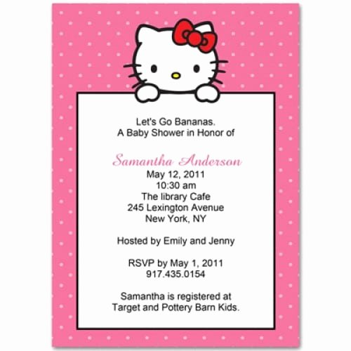 Hello Kitty Baby Shower Invites Lovely Hello Kitty Baby Shower Invitation Free