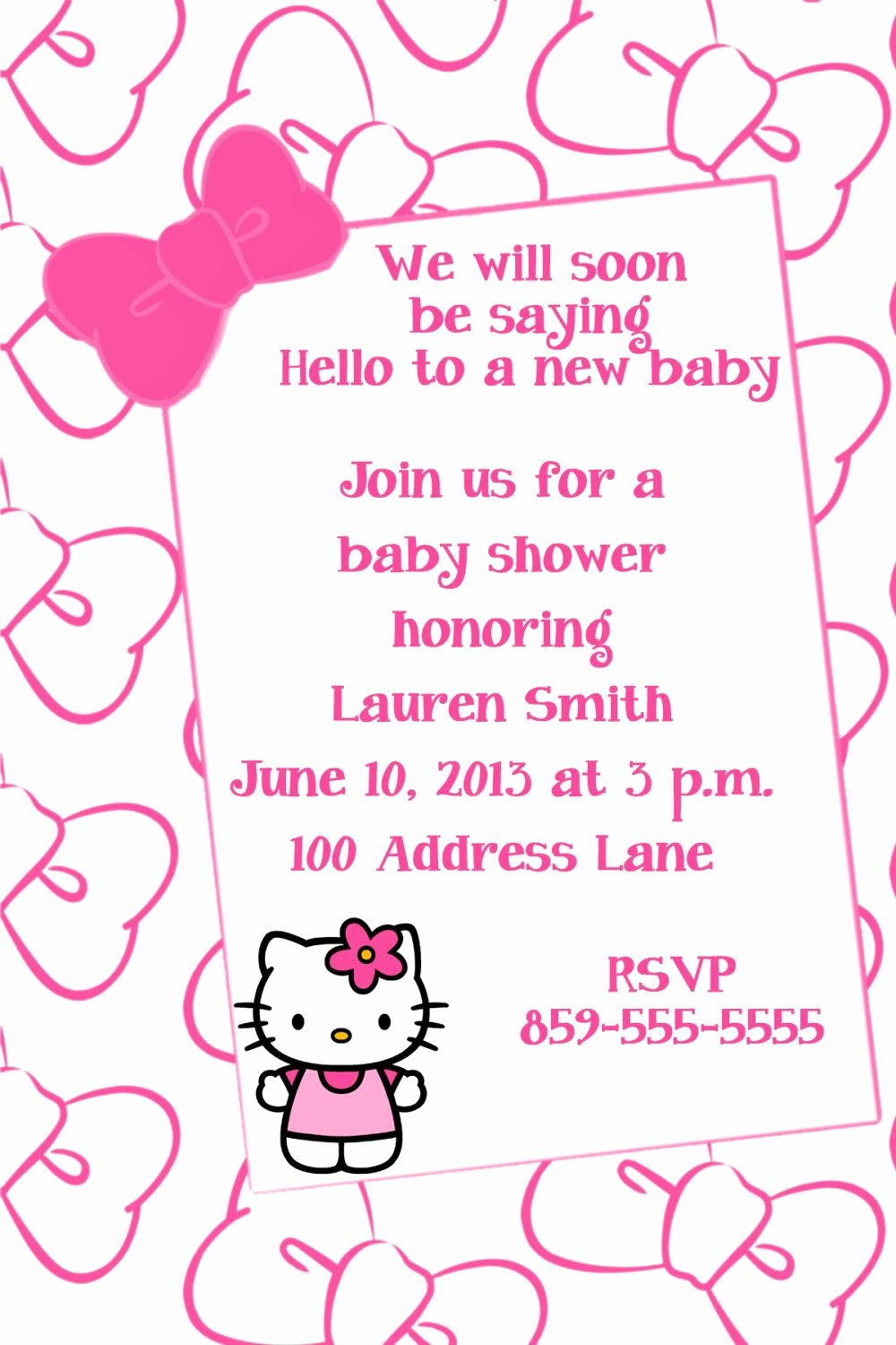 Hello Kitty Baby Shower Invites Luxury Hello Kitty Baby Shower Invitation by Lisagaledesigns On