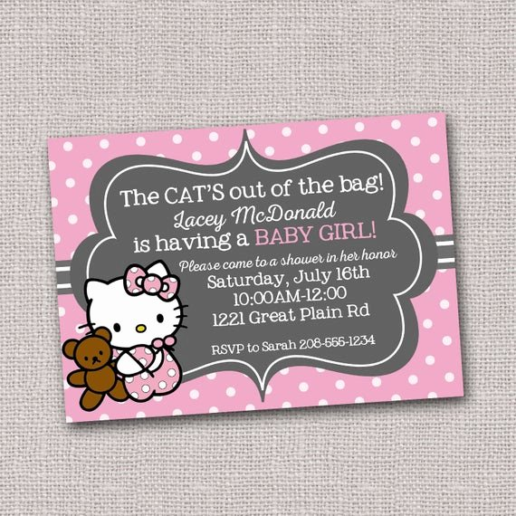 Hello Kitty Baby Shower Invites Luxury Hello Kitty Baby Shower Invitation Invite Pink and by