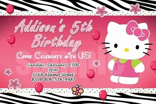 Hello Kitty Baby Shower Invites Luxury Hello Kitty Zebra Birthday Party Invitation 1st Baby