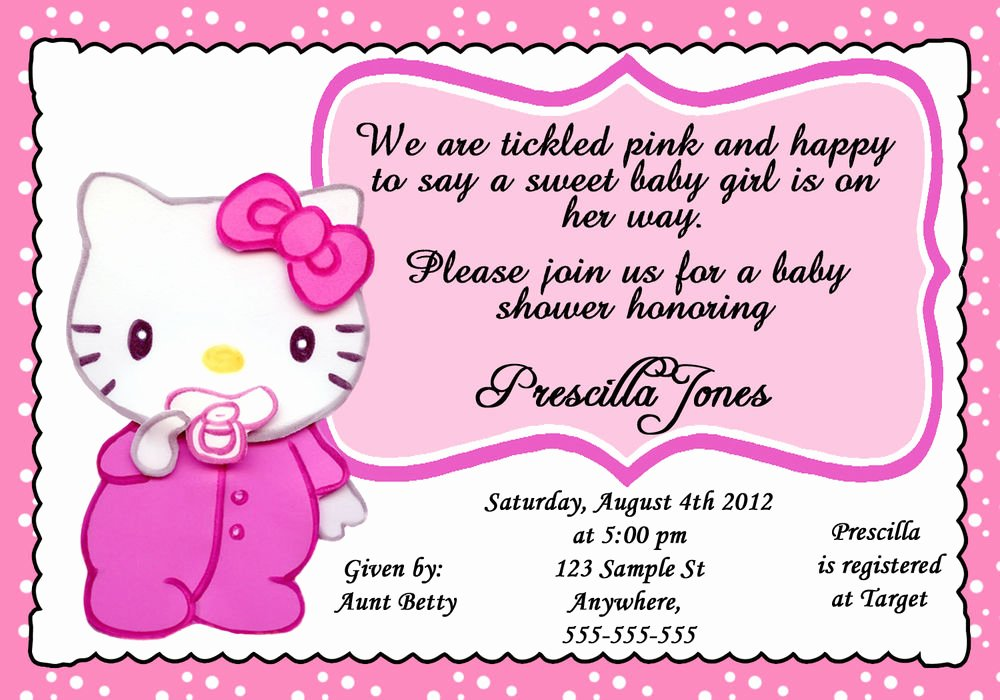 Hello Kitty Baby Shower Invites New Personalized Baby Hello Kitty Baby Shower Girl Invitation