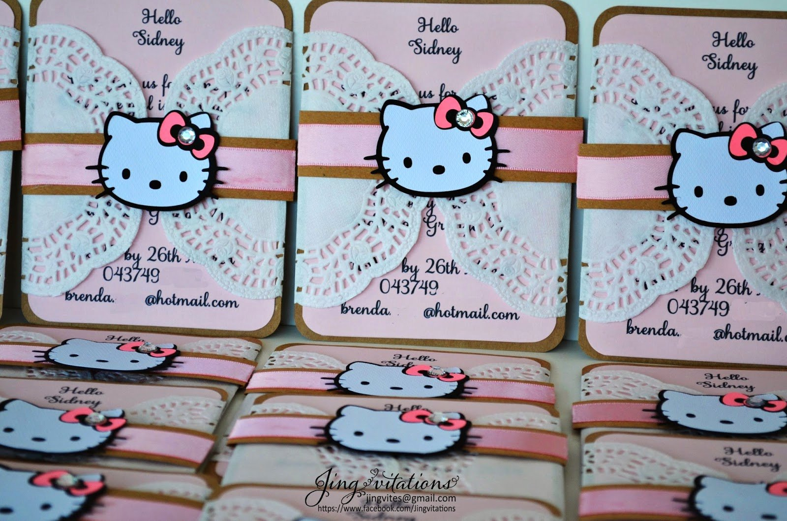 Hello Kitty Baby Shower Invites Unique Birthday and Baby Shower Invitations Hello Kitty Doily